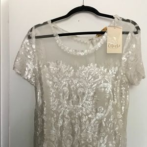 NWT white sequin dress