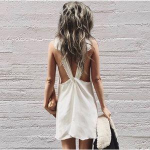 Dresses & Skirts - 🆕 White Cross Back Crochet Trim Chiffon Dress
