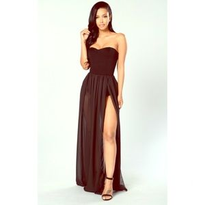 Exhibit A Dress! It is a black dress with a slit