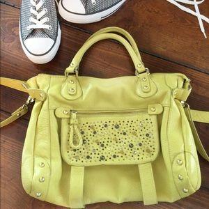 Steve Madden chartreuse studded satchel bag.