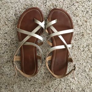 American Eagle gold strapped sandals