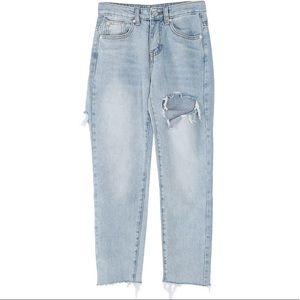 ✨NWT✨Stylenanda Destroyed Frayed Hem Capri Jeans
