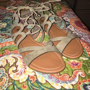 Taupe Crisscross Gladiator Sandals
