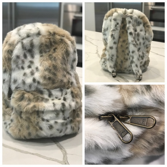f96fb9bb8a Faux Fur Pottery Barn Teen Backpack - Snow Leopard.  M 5973c748eaf03055f2022ca7