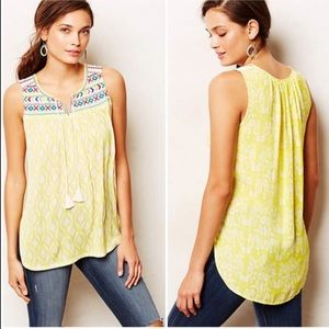 Anthropologie One September Embroidered Tank