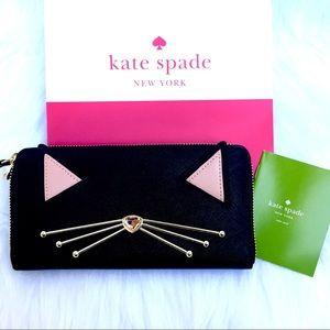 🆕 KATE SPADE 🐱Cat Jazz Things Up ♠️Black Wallet
