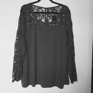 SALE❤️NWT Torrid Gray Lace Sleeve Top 1X 14-16