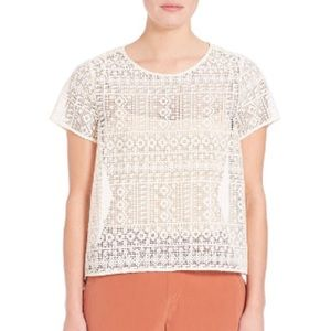 SALE - NWT Joie top antique white crochet silk