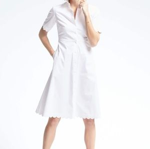🍌Banana Republic White Scallop Shirt Dress