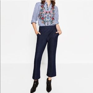 NWOT ZARA High Waisted Frilled Trousers