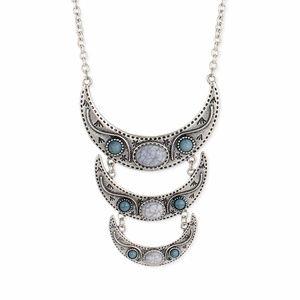 Gray & Silvertone  Crescent Pendant Necklace