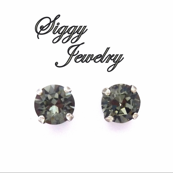 525f041fd Swarovski Crystal 8mm Black Diamond Stud Earrings. Boutique. Siggy Jewelry