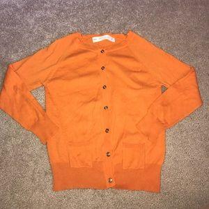 ZARA KNIT orange cardigan
