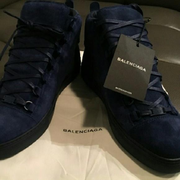 Authentic Navy Blue Suede Balenciagas