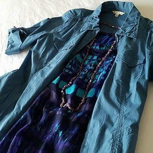Coldwater Creek blue knit top size 14 EUC