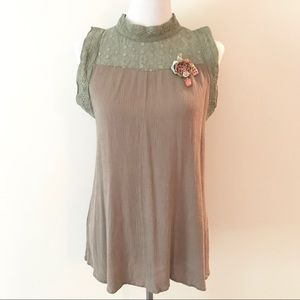Army Green Victorian Lace High Neckline POL Blouse