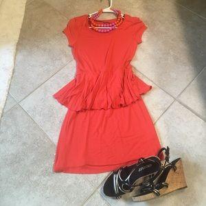 EUC Kenzie Peplum Dress.  Size S.  Orange.
