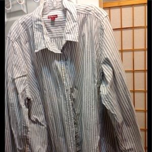 Gray on white striped cotton long sleeved shirt.