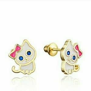 Other - 14k gold plated Enamel Cat Kitten CZ Earrings