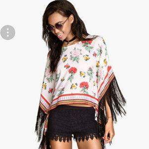 Coachella Fringe kimono nwt size 10