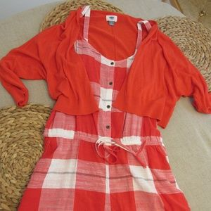 SET – Red Cropped Cardigan and Plaid Romper