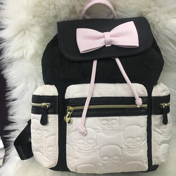 Betsey Johnson skull embossed backpack black white 0396c110c19e9