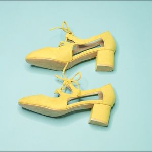 Shoes - Yellow Faux Suede Heel