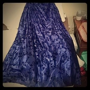 Vintage dark royal blue prom homecoming full skirt