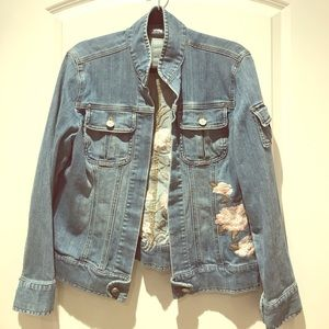 Chico's Denim Jean Jacket Embroidered Flowers