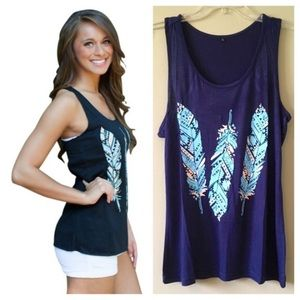 Tops - Navy Turquoise Boho Feather Racerback Tank Top XL