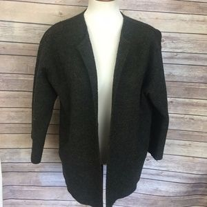 Eileen Fisher Alpaca Wool Green Open Sweater Coat