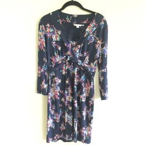 Boden Navy Blue Floral Jersey Dress