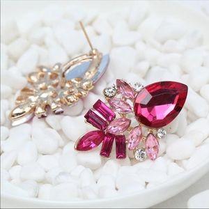 Jewelry - Flamingo Pink Rhinestone Earrings