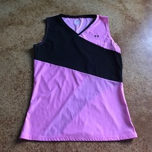 Under Armour XL pink and black v neck top