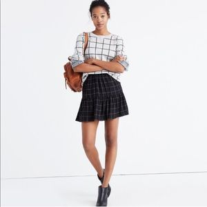 New Madewell Windowpane Ruffle Hem Skirt