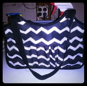 Thirty One small black and white tote