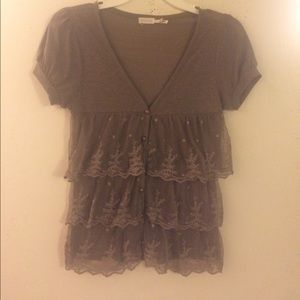 Brown Laced Button Up Blouse