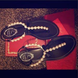 Rene Caovilla Pearly Crystal Thong Sandal Black 38