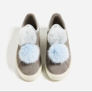 Zara grey leather sneakers with pompoms