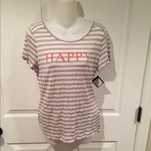 NWT Halogen striped top with happy on it sz med