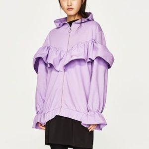 Zara lilac color hooded sweatshirt w/ frills