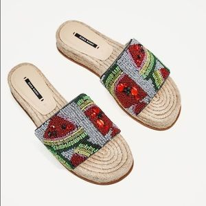 Zara beaded watermelon slides