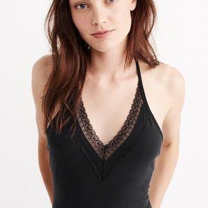 lace trim bodysuit BLACK