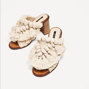 Zara mules with tassel and pompoms
