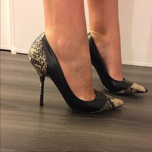 New snake print pumps