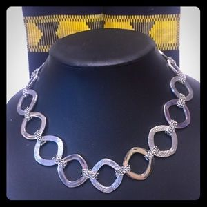 Bold Silver Statement Circle Necklace 18""