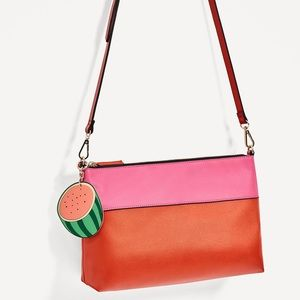Zara two tone clutch with watermelon charm
