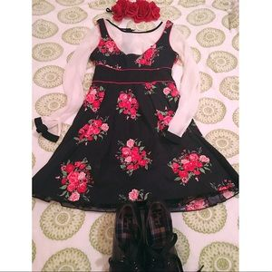 Charlotte Russe Black Flower Print Dress