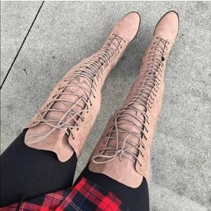 Taupe Suede Lace Up Thigh High Boots