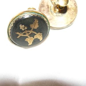 Gold and black damascene earrings exquisite vtg